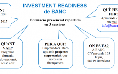 Investment Readiness BANC 2017 (11, 13 i 18 Juliol)